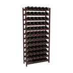 72 Bottle Stackable Wine Rack in Redwood with Walnut Stain - Four kits of wine racks for sale prices less than three of our 18 bottle Stackables! This rack gives you the ability to store 6 full cases of wine in one spot. Strong wooden dowels allow you to add more units as you need them. These DIY wine racks are perfect for young collections and expert connoisseurs.
