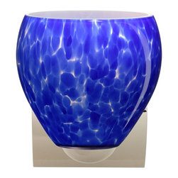 Besa Lighting - Besa Lighting 1WZ-412286-CR Bolla Blue Cloud Chrome One Light Wall Sconce - The Bolla is a compact handcrafted glass, softly radiused to fit gracefully into contemporary spaces. Our Blue Cloud glass is full of floating, splashes of blue tones over white that almost feels like a watercolor painting. This combination of color is crisp and timeless. This dEcor is created by rolling molten glass in small bits of blue hues called frit. The result is a multi-layered blown glass, where frit color is nestled between an opal inner layer and a clear glossy outer layer. The handcrafted touch of a skilled artisan, utilizing century-old techniques passed down from generation to generation, creates variations in color and design that are to be appreciated. The minisconce fixture is equipped with a sleek arcing diecast lampholder and matching radiused rectangular canopy. These stylish and functional luminaries are offered in a beautiful Chrome finish.