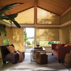 Custom Roman Shades: Vignette®. Living Room Angled Window Shades - Hunter Douglas offers a full line of Vignette® Roman Shades now available in Top Down Bottom Up, Cordless, and even for angled windows. Check the Traversed Vertical Roman Shade now available for sliding glass doors.