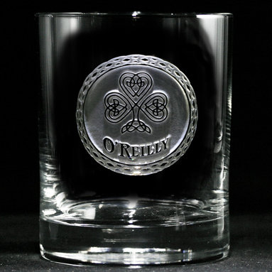 Irish Whiskey, Scotch, Bourbon Glasses Gifts - Personalized custom whiskey, scotch and bourbon glasses are the perfect gift for bridal shower, engagement, wedding, birthday and for the man or woman who has everything. Real estate agents and interior designers often give our personalized barware to special clients as housewarming or thank you gifts. Not engraved, but deeply sand carved, each of our glasses is hand crafted. The background is carved away, leaving the monogram and design raised from the glass in a 3D manner. Simply exquisite. Crystal Imagery