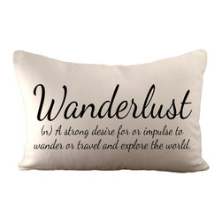 Wanderlust Pillow, With Polyester Insert - Wanderlust