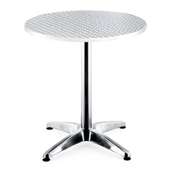 Zuo Modern - Bistro Table in Aluminum w Round Top - Non-corrosive aluminum edging ensures lasting durability.  Aluminum graces the edge of the table top and creates the column and base as well.  Great for outdoor crafting and entertaining, this table is a functional addition to any space.  The table is set on a four-point aluminum base, for full stability, and features a stainless steel table-top edged with aluminum.  This modern, classy table makes a great addition to homes, restaurants, or outdoor patios thanks to a sturdy design and dashing good looks. * Suitable for outdoor use. Aluminum wrapped MDF table top. Aluminum Top. 4 Prong base with adjustable lever . Aluminum Edge. Aluminum finished column and base. 28 in. H x 27.5 in. Dia