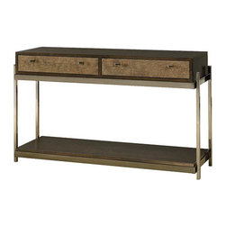 Hammary - Hammary Bruno 2 Drawer Sofa Table w/ Faux Crocodile Skin Front & Steel Base - - 349-925.  Product features: Belongs to Bruno Collection by Hammary; 2 Drawers; Rectangular Table Top Shape; Faux Crocodile Skin Front; Steel Base. Product includes: Sofa Table (1). 2 Drawer Sofa Table w/ Faux Crocodile Skin Front & Steel Base  belongs to Bruno Collection by Hammary.