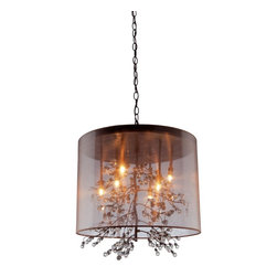 Artcraft Lighting - Burnished Bronze 8 Light ChandelierSherwood Collection - Beautiful organza shades, with organically shapes branches that have glass jewels as buds at the tips.