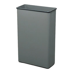 """Safco - Rectangular Wastebasket, 88 Qt. (Qty.3) - Charcoal - Get the job done! This large 80 quart capacity is ideal for common collection sites throughout the office. Puncture-resistant, fire-safe, heavy-duty steel construction will not burn, melt or emit toxic fumes. Bottom is raised 1"""" to provide air cushion insulation in the event of fire. Color coordinated vinyl bumper tops and no-mar polyethylene feet protect furniture and floors. Units meet all OSHA requirements for waste receptacles and qualify under NFPA Life Safety Code 101, Section 31. Rectangular wastebasket is available in Black, Charcoal or Sand powder coat finish. Packed 3 per carton.; Features: Material: Steel; Color: Charcoal; Finished Product Weight: 15 lbs.; Assembly Required: No; Limited Lifetime Warranty; Dimensions: 20 3/4""""W x 11""""D x 29 1/2""""H"""