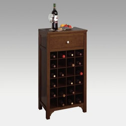 Harrison 24-Bottle Wine Cabinet - The Harrison 24 Bottle Wine Cabinet features a simple traditional design. Crafted from solid hardwood with a dark walnut finish this wine cabinet stores up to 24 bottles of wine in individual bins. The rack also offers a storage drawer for wine utensils and a table top for serving food and beverages. This cabinet doubles as decorative piece for your living space and as an ample storage unit for your favorite wines. Place multiple cabinets side by side to expand the capacity and service area. Some assembly is required and all necessary hardware is included. This purchase is for 1 wine cabinet an alternate image shows 2 cabinets placed side by side for viewing as a larger cabinet shown for scale. About Winsome TradingWinsome Trading has been a manufacturer and distributor of quality products for the home for over 30 years. Specializing in furniture crafted of solid wood Winsome also crafts unique furniture using wrought iron aluminum steel marble and glass. Winsome's home office is located in Woodinville Washington. The company has its own product design and development team offering continuous innovation.