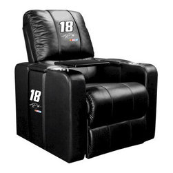 Dreamseat Inc. - Kyle Busch #18 NASCAR Home Theater Plus Leather Recliner - Check out this Awesome Leather Recliner. Quite simply, it's one of the coolest things we've ever seen. This is unbelievably comfortable - once you're in it, you won't want to get up. Features a zip-in-zip-out logo panel embroidered with 70,000 stitches. Converts from a solid color to custom-logo furniture in seconds - perfect for a shared or multi-purpose room. Root for several teams? Simply swap the panels out when the seasons change. This is a true statement piece that is perfect for your Man Cave, Game Room, basement or garage. It combines contemporary design with the ultimate comfort from a fully reclining frame with lumbar and full leg support.