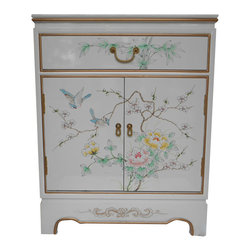 Oriental furnishings - Oriental Cabinet Antique Gold Leaf Hand Painted Floral, White - White lacquer with hand painted bird and flower design painted on top, front and sides. Glass top and shelf included. Felt lined drawer. Two doors.Dimensions: 24 by 14 by 30 inches high. Shallow cabinet perfect for small spaces that need a wow item!