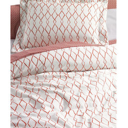 280-count No Iron Sateen Bayfield Diamond Lattice Duvet Cover - Jazz up your bedscape with this gorgeous beaded diamond patterned duvet cover.