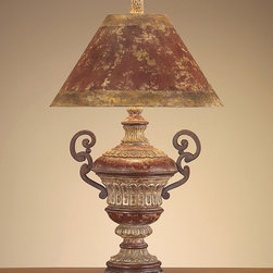 "John Richard 38""H Red Crusted Iron Arms Lamp - 38""H Red Crusted Iron Arms"