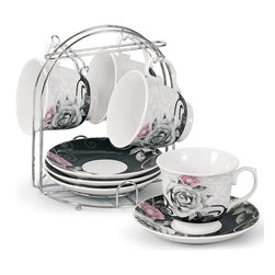 Lorren Home Trend - Porcelain Coffee/ Tea 9-piece Set on Metal Stand - Enjoy your coffee or tea with friends with this splendid porcelain cup and saucer set. Featuring an elegant black and white design with a rose pattern,these dishwasher-safe cups are easily and safely stored with the included metal stand.