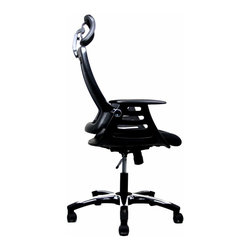 Techni Mobili - Techni Mobili Executive High Back Chair w/ Headrest in Black - Executive High Back Chair w/ Headrest in Black by Techni Mobli The TechniMobili Executive High Back Mesh Chair has a modern design with breathable open mesh back support, molded armrests, a contoured mesh fabric seat cushion, height-adjustable headrest, and a reclining back with locking lever and tension control knob. Dual non-marking casters and 5-star heavy-duty nylon base which provides stable mobility. Ready and easy to assemble. COLOR: BLACK  Office Chair (1)