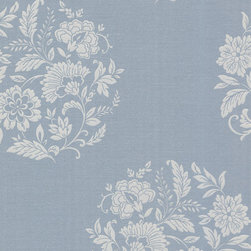 Brewster Home Fashions - Velde Blue Floral Motif Wallpaper Bolt - Luxuriate your space with a soothing blue of the sea and sky. This contemporary floral wallpaper has luxe silver accents and a vintage meets modern quality.