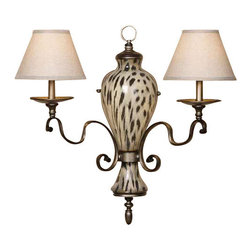 Uttermost Malawi 2 Light Wall Sconce - Lightly burnished cheetah print over ceramic with gracefully curved arms finished in a heavily antiqued silver. The hardback shades are a rusty beige linen fabric. Lightly burnished cheetah print over ceramic with gracefully curved arms finished in a heavily antiqued silver. The hardback shades are a rusty beige linen fabric.