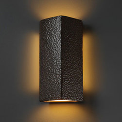 Justice Design Group - Ambiance Hammered Iron Peaked Rectangle Two-Light Bathroom ADA Wall Sconce - - Peaked Rectangle Wall Sconce.  - Made in USA  - Shade Material - Ceramic Justice Design Group - CER5145HMIR