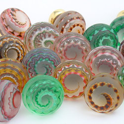 Artisan glass kitchen knobs - Handmade artisan glass knobs in a choice of beautiful colours and finish options.  Merlin Glass the ultimate in luxury glass knobs.