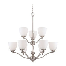 Chandelier with White Glass in Brushed Nickel Finish -