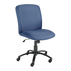 Safco - Safco Uber Big and Tall High Back Armless Plastic Chair - Safco - Office Chairs - 3490BU - This high back office task chair is designed to comfortably seat taller and larger individuals with a heightened back panel and broader seat in addition to standard adjustment options. Auto seat height adjustment and tilt tension and lock control make finding your seating preference easy, and a 5-wheel caster base provides ease of movement. The Uber also features durable and stain resistant polyester upholstery to round out its appeal.