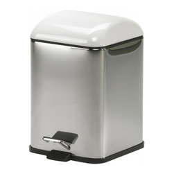 KohINoor - Karta 5363KV Waste Basket in White - Karta 5363 by Modo Bath 8.3 x 8.3 x 11.4 Waste Basket, Cover in Colored Abs, Galvanized Chromed Abs, Transparent Colored Polycarbonate, Bright Stainless Steel Body, Removable Inner Basket in Polypropylene, Foot-pedal Opening