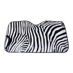 Oxgord - OxGord Universal White Zebra Stripe Auto Sun Shade Visor - The OxGord Accordion Folding Sunshade is perfect for hot and sunny climates. It protects the interior of your vehicle by blocking out damaging UV rays,which in turn keeps your vehicle at a much more tolerable temperature.