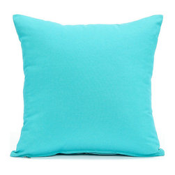 "Blooming Home Decor - Solid Aqua Blue Accent / Throw Pillow Cover, 16""x16"" - (Available in 16""x16"", 18""x18"", 20""x20"", 24""x24"", 26""x26"", 12""x20"")"