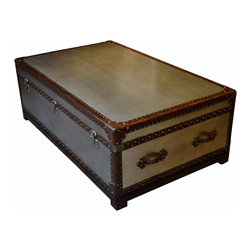 Trunk  Style Coffee Table w/Leather - Bondurant Cocktail Trunk - Dimensions: L 51''  × W 31''  × H 18''