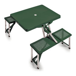 "Picnic Time - SPORT Picnic Table, Hunter Green - Picnic Time's portable Picnic Table is a compact fold-out table with bench seats for four that you can take anywhere. The legs and seats fold into the table when collapsed so the item is easy to store and transport. It has a maximum weight capacity of 250 lbs. per seat and 20 lbs. for the table. The seats are molded polypropylene with a basket weave pattern in the same color as the ABS plastic table top. The frame is aluminum alloy for durability. The Picnic Table is ideal for outdoor or indoor use, whenever you need an extra table and seats. It includes a hole in the center of the table to accommodate a standard sized beach umbrella (having a pole that is 1.25"" diameter or less)."