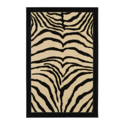 Mohawk Home - Mohawk New Wave Zebra Safari Black Animal Prints 5' x 8' Rug (10559) - Take a walk on the wild side with this rug design.  This black and cream tiger print is an excellent way to add style to your decor.  To create a chic contemporary statement pair this rug with a black leather sofa set. Printed on the same machines that manufacture one of the world