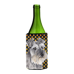 Caroline's Treasures - Schnauzer Candy Corn Halloween Portrait Wine Bottle Koozie Hugger - Schnauzer Candy Corn Halloween Portrait Wine Bottle Koozie Hugger Fits 750 ml. wine or other beverage bottles. Fits 24 oz. cans or pint bottles. Great collapsible koozie for large cans of beer, Energy Drinks or large Iced Tea beverages. Great to keep track of your beverage and add a bit of flair to a gathering. Wash the hugger in your washing machine. Design will not come off.