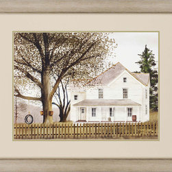 Paragon Decor - Grandma's House Artwork - A white farmhouse evokes memories of lazy summer days and hours spent swinging in a homemade tire swing.