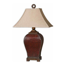 Carolyn Kinder - Carolyn Kinder 27662 Patala Traditional Table Lamp - Heavily crackled deep red finish with burnished edges and golden bronze accents and a tan glaze. The rectangle bell shade is a rusty beige linen fabric.