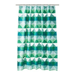 Room Essentials Peva Triangle Shower Curtain, Green - I love the colors and triangle design of this shower curtain.