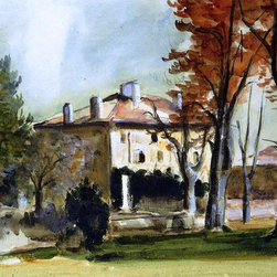 "Paul Cezanne The Manor House at Jas de Bouffan  Print - 16"" x 20"" Paul Cezanne The Manor House at Jas de Bouffan premium archival print reproduced to meet museum quality standards. Our museum quality archival prints are produced using high-precision print technology for a more accurate reproduction printed on high quality, heavyweight matte presentation paper with fade-resistant, archival inks. Our progressive business model allows us to offer works of art to you at the best wholesale pricing, significantly less than art gallery prices, affordable to all. This line of artwork is produced with extra white border space (if you choose to have it framed, for your framer to work with to frame properly or utilize a larger mat and/or frame).  We present a comprehensive collection of exceptional art reproductions byPaul Cezanne."