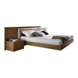 Rossetto - Edge Walnut Bed - King - Look for a definitive opulence in this elegant king size Rossetto Italian bed. Escape the frustrations of your daily life each night in this gorgeous queen size platform bed by Rossetto. The stylish inner headboard is covered in a soft Italian fabric that's bunched for added texture. The outer framing lies against the wall and stylishly embraces the the slightly off center inner headboard. A soft horizontal light is easily accessed for that  in. just right in.  light that's not too strong after a long day. The clean design lines define the luxuriant appearance and are courtesy of the relaxed draping on the headboard and Italian trends. It's both sleek and versatile with its lighter finish. European styling invites comfort and intimacy. This collection is a must-have for anyone who appreciates the finer things in life and for those who demand nothing but the best.