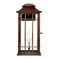 "The CopperSMith - Bad Lands Gas Lantern by The CopperSmith BL18-Gas, Lp Propane Gas - Bad Lands 2 Lite 17.5"" Gas Wall Lantern by The CopperSmith. This versatile lantern blends nicely with Mission Style, Arts & Crafts, Bungalow and even Contemporary architecture. Bad Lands can be used for both interior or exterior applications. The lovely antique copper finish accented by brass cross bars will age naturally over time creating it's own unique patina. This lantern is constructed of 20 oz. Copper that is hand rubbed to an antique patina. The cross bars and sockets are solid brass. The back plate and mounting is sturdy steel finished in a durable black powder coat finish. Bad Lands is also available in electric . For a larger size, see BL22G."