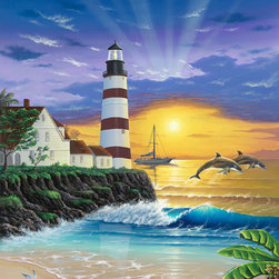 Murals Your Way - Dolphin Lighthouse Wall Art - A pair of dolphins leap from the water at the base of a red and white striped lighthouse