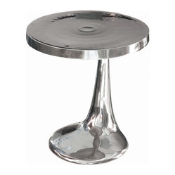 Four Hands - Marlow Conductor Table - The polished aluminum finish of this side table complements its glamorous design perfectly. You'll be adding a bold touch of vintage-inspired personality when you add this to any room. Just imagine balancing a cocktail here while taking in the sleek curves of this dynamic design.