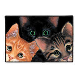 305-Peeping Toms Doormat - Who could resist this troublesome trio? This welcoming doormat is 100% Polyester face permenantly dye printed and fade resistant, with a non-skid rubber backing durable polypropylene web trim. Use on the porch or near your back entrance to the house. Indoor and outdoor compatible rugs that stand up to heavy use and weather effects. Mats may be hand washed or hosed down and air dried.