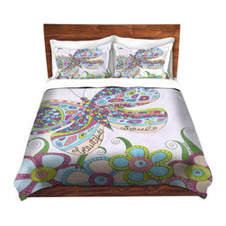 DiaNoche Designs - Duvet Cover Microfiber by Valerie Lorimer - Beautiful Soul - Super lightweight and extremely soft Premium Microfiber Duvet Cover in sizes Twin, Queen, King.  This duvet is designed to wash upon arrival for maximum softness.   Each duvet starts by looming the fabric and cutting to the size ordered.  The Image is printed and your Duvet Cover is meticulously sewn together with ties in each corner and a hidden zip closure.  All in the USA!!  Poly top with a Cotton Poly underside.  Dye Sublimation printing permanently adheres the ink to the material for long life and durability. Printed top, cream colored bottom, Machine Washable, Product may vary slightly from image.