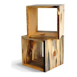 Reclaimed Wood Storage Cube by Naturally Aspen - Combining a sleek, modern silhouette with a richly textured surface, this modular pine storage cube would look great on its own as a side table or in multiples as shelves or a coffee table. They're perfect for tiny apartments.