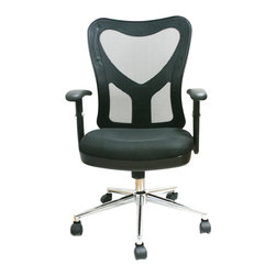 Techni Mobili - Techni Mobili 0098M Mesh Office Chair in Black - Techni Mobili - Office Chairs - RTA0098MBK - Increase your comfort level with Techni Mobili's mesh back office chair! Featuring a contoured fabric seat cushion back and with padded armrests this chair is sure to meet your comfort needs. Pneumatic height adjustment makes this chair easily customizable to your personal preferences while nylon wheels and a steel chromed base make this chair both durable and stable. This chair also features adjustable armrests and a back tilt position locking mechanism. A stylish and modern design with a heavy duty plastic shellback add the finishing touches to this piece making this a great addition to any home or office.