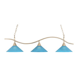 "Toltec - Toltec 893-BN-415 BRUSHED NICKEL Finish 3-Light BAR with 16"" Blue Italian Glass - Toltec 893-BN-415 Brushed Nickel Finish 3-Light Bar with 16"" Blue Italian Glass Shades"