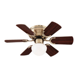 "Westinghouse - Westinghouse 78603 Antique Brass Petite Children / Kids Indoor Ceiling - 30"" 6 Blade Ceiling Fan Reversible Blades (Walnut/Oak) Includes Light Fixture with Opal Mushroom Glass One Candelabra Base Fan Lamp, 60w max Required"