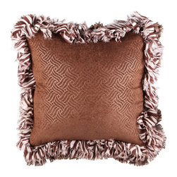 Brandi Renee Designs - Brown Weave with Zebra Ruffle Pillow - There comes a time when only chocolate will do.  And at times like that, this glamorous accent will certainly do the trick. The cozy polyfill insert is covered with a mocha weave print that is truly attention grabbing. Whereas the ruffled brown and white zebra trim gives off an almost playful feel. You can't go wrong with this luxury piece. Paired with complimentary elements or bold accessories, the result is always tasteful, yet fabulous.