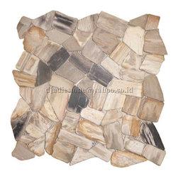 Mozaik Interlock Petrified Wood Tile - This multicolored, multitextured petrified tile would make for a stunning backsplash.