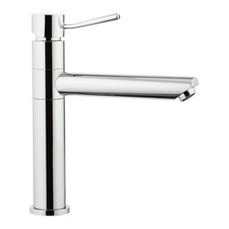 "Modern Brass Sink Faucet with Movable Spout - Designed and manufactured in Italy by Remer. Made of high quality chromed brass. Single-lever, one-hole deck mounted sink faucet has movable spout. Round modern faucet with 6"" spout height. Faucet dimensions: 2.17"" (width), 12.60"" (height), 8.46"" (depth)"