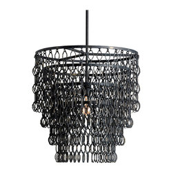 Kathy Kuo Home - Spence Industrial Modern Wire Frame Links 3 Tier Pendant Lamp - We love a good style mash up, and this hybrid of industrial materials and traditional styling is a perfect example!  Gun metal black rings are looped together in circular tiers, diffusing the light into a myriad of textures. Perfect for an industrial loft style space, this pendant bridges the rustic and the refined with ease.
