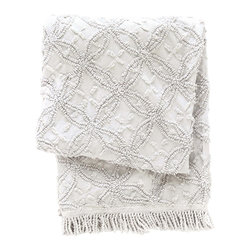 "Pine Cone Hill - PCH Candlewick Dove Gray Throw - Richly textured, the Candlewick throw by PCH exudes vintage-style glamour. This soft, comfortable blanket boasts a geometric pattern in neutral dove gray. 50"" x 70""; 100% cotton; Tassel edge; Designed by Pine Cone Hill, an Annie Selke company; Machine wash"