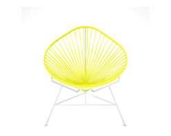 Baby Acapulco Chair, White Frame With Yellow Weave - The classic avocado shape of this chair — known as the Acapulco — is a great design for indoor or outdoor use. The smaller woven vinyl seat is perfect for children or adults, and the white steel base is sturdy and resistant to rust. This is a great solution for your backyard this summer. You just have to pick your favorite color for the seat!