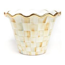 """8"""" Parchment Check Flower Pot   MacKenzie-Childs - A splendid jardinière for tabletops, mantelpieces, and master bath vanities, picture our 8"""" Parchment Check Flower Pot with your finest flora as an extraordinary accent in your favorite room. Hand-painted ceramic with Parchment Checks, gold lustre, and fluted edges. For indoor and warm-weather outdoor use."""
